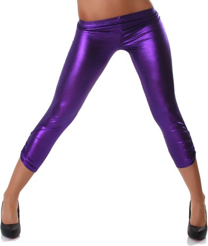 Capri Leggings 3/4 im Leder-Optik Einheitsgröße für 32-38 verschiedene Farben (one size, Lila)