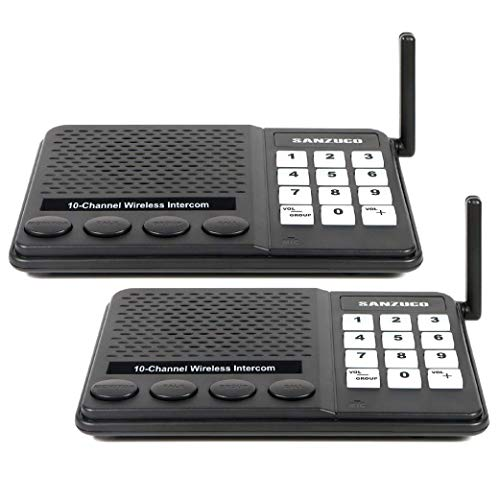 Sanzuco Wireless Intercom for Home & Office, Long-Range with Clear Sound, Hands-Free Room to Room Communication Systems, Best for Business, Senior & Elderly Monitoring