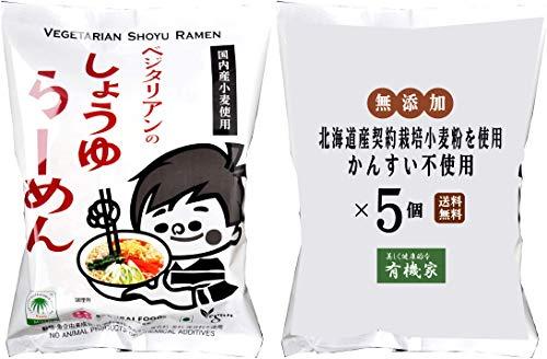 無添加 ベジタリアン醤油ラーメン100g×5個★麺は国内産契約栽培小麦粉を使用、植物油で揚げています。動物性原材料不使用。