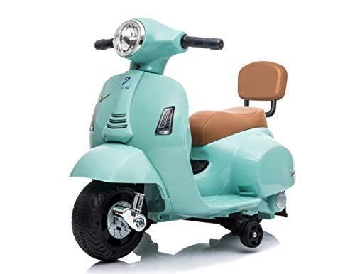 Mondial Toys Moto ELETTRICA per Bambini Mini Vespa GTS Piaggio 6V con Schienale Sedile in Pelle LUCI Suoni Verde Tiffany
