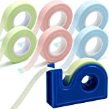 6 Rolls Eyelash Tape with Tape Dispenser Cutter, Lash Tape for Lash Extension, Adhesive Breathable Fabric Tape for Eyelash Extension Supply, 0.5 Inch Wide, 10 Yards Long (Green, Pink, Blue)
