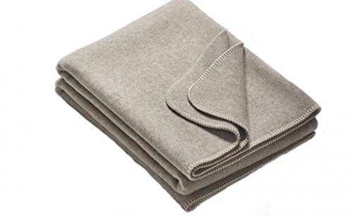 Wolldecke aus Reiner Schurwolle 100% Merinowolle in verschiedenen Größen und Farben - Natur pur - ökologisch ungefärbt, Größe Decken:155 x 220, Decke_Umkettelung:Grau_Weiß