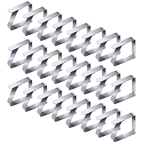 Aoliandatong 24pcs Tischdeckenklammer Edelstahl, Tischtuchklammern Verdickter, Tischtuch Clips, Tischdeckenhalter, Klammer zum Befestigen der Tischdecke 5 x 4 cm