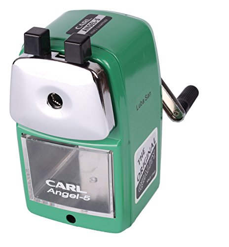 CARL Angel 5 Manual Pencil Sharpener Heavy Duty but Quiet for Office and Home Desks School Classroom,Green