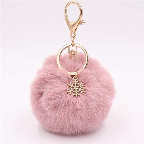 siqiwl Llavero llavero con colgante de copo de nieve, diseño de bola de felpa peluda, para mujeres y niñas, accesorios de bolsa 16