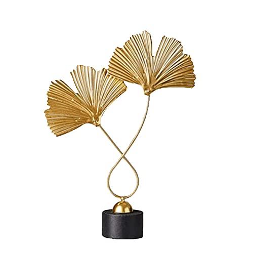 Desktop-Skulptur Ahornblatt Statue Eisen Abstrakte Kunst Skulptur Metall Handwerk Dekoration Büro Desktop Dekoration Dekoration Dekoration Hochzeit Geschenk Figuren (Color : Ginkgo Leaf-2)