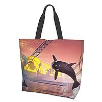 おしゃれ 潮流 レディース 帆布 トートバッグ コンパクト コンビニ 買い物袋エコバッグ クレイジーサメ 人気 トートバッグ コンパクト 多機能 大容量 手提げ袋 収納バッグ