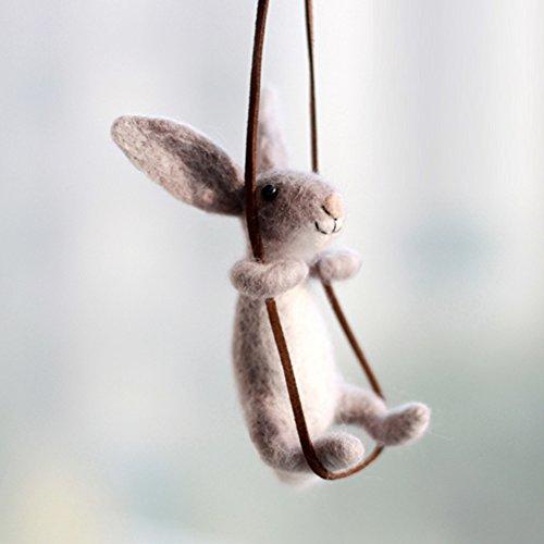 Conejo en Cuerda Lana de Merino Kit de Felting Lana Fieltro 10CM - Agujas, Protectores de Dedos, Base de Fieltro de Aguja de Alta Densidad, Instrucciones