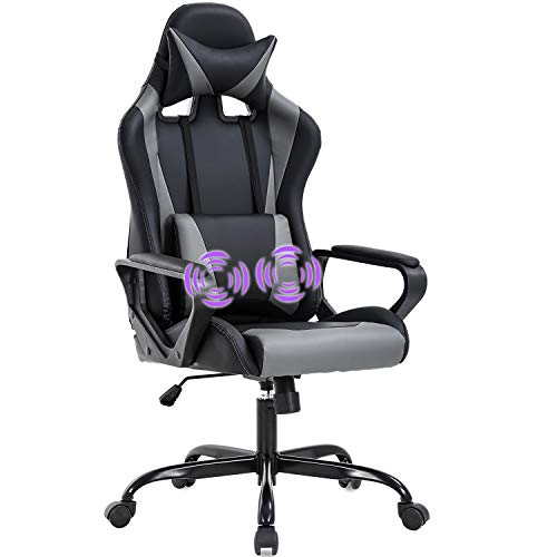 Gaming Chair Office Chair Desk Chair with Lumbar Support Arms Headrest High Back PU Leather Ergonomic Massage Racing Chair Rolling Swivel Executive Adjustable Computer Chair for Adults Girls(Grey)