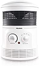 PELONIS PH-17P 360-Degree Surround Fan Forced Heater with 1500W Fasting, Adjustable Thermostat, 2 Heat Settings, Cool Touch Handle, Tip-Over Switch, Overheating Protection Functions. White