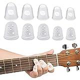 Chudian 50pcs Protector Dedos Guitarra, Guitarra Protector Dedos Silicona para Principiantes de Guitarra, Ukelele, Instrumentos (Transparente, 5 Tamaño)