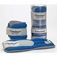 TheraBand Ankle Weights, Comfort Fit Wrist & Ankle Cuff Weight Set, Adjustable Walking Weights for Cardio, Home Workout, Ankle Strengthening & Physical Therapy, Blue, 2.5 lb. Each, Set of 2, 5 Pounds