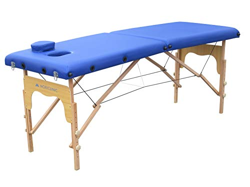 Mobiclinic, Camilla plegable de madera, CM-01 BASIC, Cama de masaje, Portátil, Fisioterapia, Marca Española, Cómoda, Regulable, 180x60 cm, Azul
