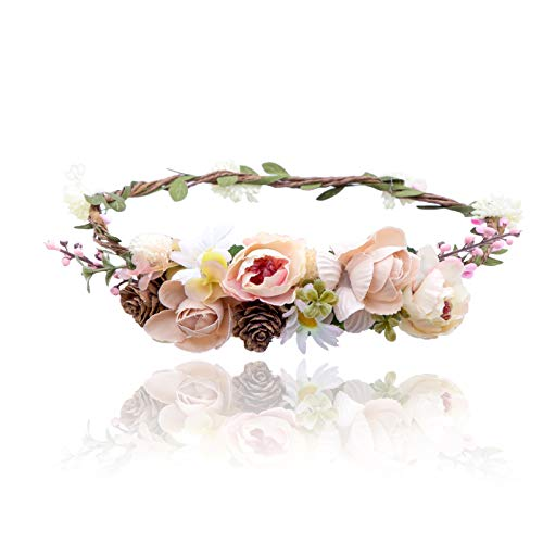 AWAYTR Bohemia Flower Crown Headband - Exquisite Pinecone Leaf Berry Flower Headband Flower Halo Wreath women (Light khaki+Light pink)