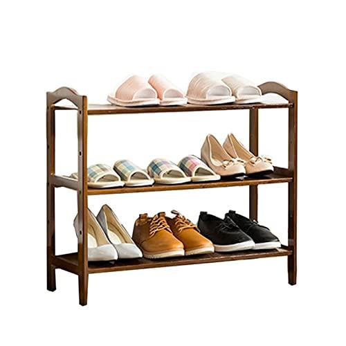 ZZYE Zapatero 3 Niveles de Zapato de Madera Mueble de Almacenamiento de Madera Muebles de Muebles Organizador de Zapatos Estante de bambú (marrón) (L) 69x (d) 25.5X (H) 59 cm Perchero Zapatero
