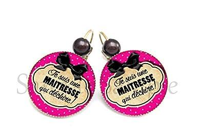 Boucles d'oreille Je suis une Maîtresse qui déchire ! - rose noir nœud pois - cadeau école - merci maîtresse