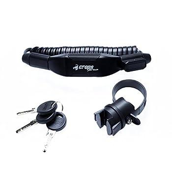 CROPS K4 Biro Cadenas de vélo - Léger - 2x2mm câble d'acier gainé - 180cm de Long - Mémoire de Forme: Se replie en Forme compacte à Chaque Fois - Antivol