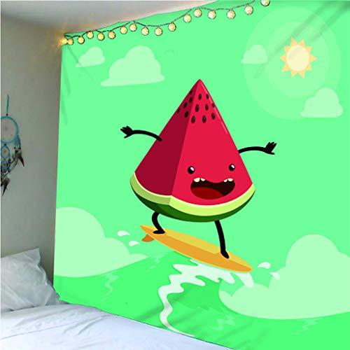 haoziggdeshoop Wandteppich Wandbehänge Kreatives Wassermelonen-Skateboard Tapisserie Wandtuch Hausdeko Strandtuch Tagesdecke Boho Deko 240(H) X260(B) cm
