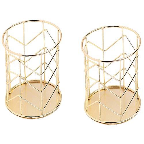Dcolor Cesta de almacenamiento de maquillaje de hierro, arte nórdico, copa cilíndrica, soporte para bolígrafos, organizador de escritorio, decoración de color dorado