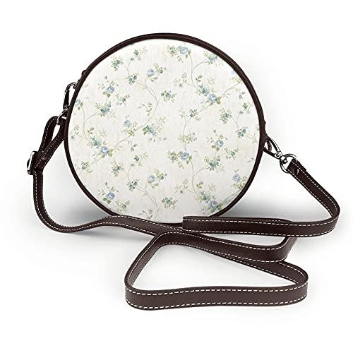 fepeng Pequeño bolso de hombro en forma redonda azul Floral Vine Circular Crossbody Bag Bolsas de hombro de cuero de microfibra, café, Talla única