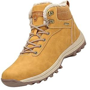 Mishansha Mujer Hombre Botas para Invierno con Forro de Piel Cálidas Zapatos para Caminar Senderismo y Trekking - Calentitas Cómodas Antideslizantes(Amarillo, 48 EU)