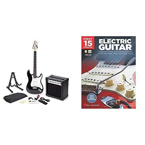 RockJam RJEG01-SK-BK Full Size Electric Guitar Superkit with Guitar Amplifier Guitar Strings Guitar Tuner Guitar Strap Guitar Case Black & First 15 Lessons - Electric Guitar: A Beginner's Guide