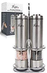 Salt and Pepper Mill Electric - Pepper Mill Electric(2) van Flafster Kitchen - Electric Salt and Pepper Mill Set with Stand - Ceramic Mills with Light and Adjustable Coarseness*