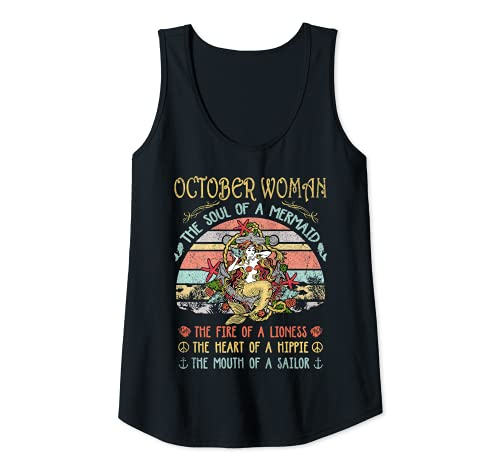 Mujer Octubre Mujer El Alma De Una Sirena Vintage Cumpleaños Camiseta sin Mangas