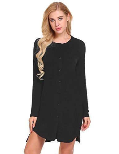 Ekouaer Damen Nachtwäsche Viktorianisch Langarm Rundhals Kurzes Nachthemd Schlafanzüge Nachtkleid T-Shirt mit Knopfleiste