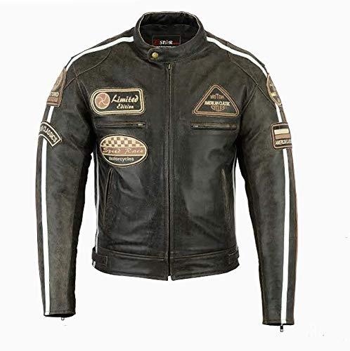 Bstarmoto Chaqueta De Cuero Para Moto, Chaqueta Con Protecciones, Leather JAcket With Protections (4XL)