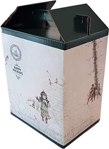 Caja para Vino - Estuche de 6 botellas de vino - Caja para lote de navidad - Happy Holidays | 4 Unidades