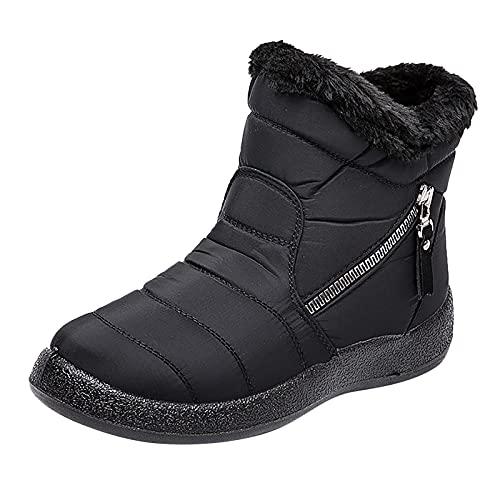 Fullwei Snow Sneaker Booties for Women,Women Platform Winter Snow Boots Waterproof Short Fur Lined Warm Ankle Boot Ladies Comfy Fitness Slip On Boot Causal Walking Shoe (Black, 10)