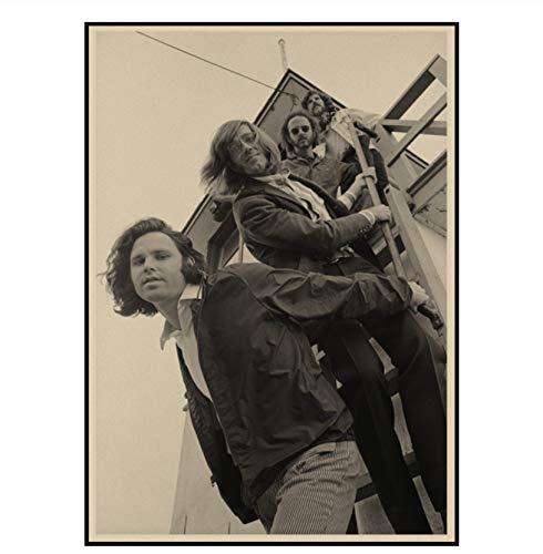 Vintage Poster Wohnkultur Die Türen Jim Morrison Retro Leinwanddruck Poster Rockband Musik Star Poster Wandbilder 42X30Cm Ohne Rahmen