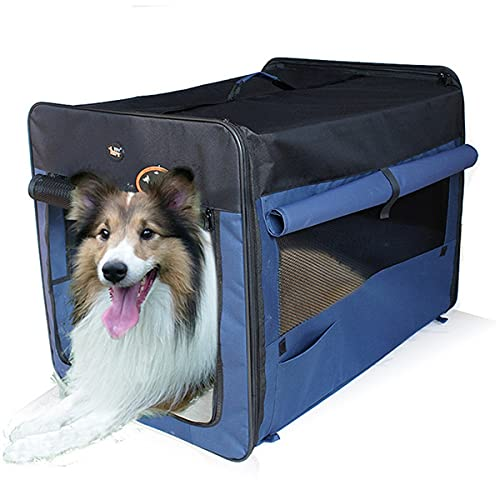 BVVB Haustier-Reise-Tragetasche, Haustierkäfig Faltbares, atmungsaktives Haustier-Hundebett, Tragbare Haustier-Tasche - Autotransport-Hundekäfig-Tasche für Hunde oder Katzen(Color:Blue,Size:60x42x42)
