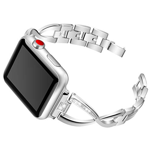 CHENPENG Bling Rhinestone Metal Correa, Compatible con Apple Watch 1/2/3/4, Bandas de reemplazo Ajustables de Acero Inoxidable, Mujeres,Plata,38mm