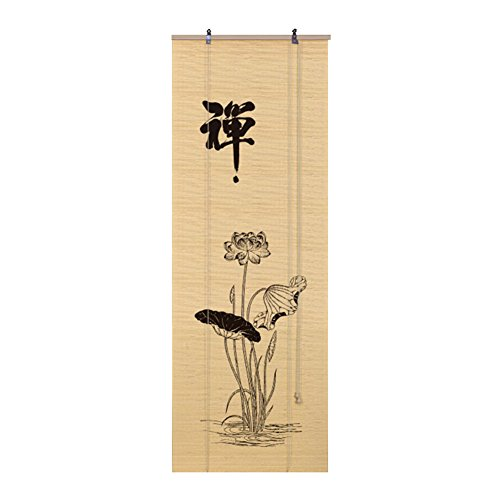 WUFENG Cortina De Bambú Impresión Estilo Japones Persiana Fondo Pantalla Cortar Sala De Te Bambú Natural Protección del Medio Ambiente Salud Cortina (Color : A, Tamaño : 150x200cm)