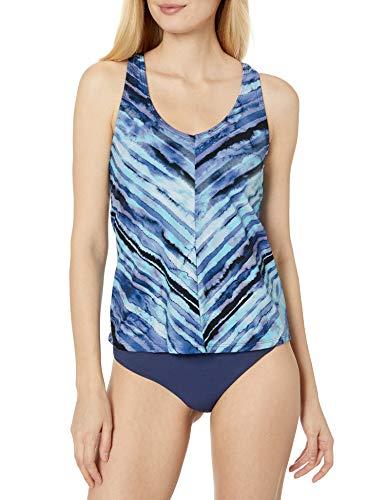 24th & Ocean Women's V-Neck Front Seam Racer Back Tankini Swimsuit Top, Navy//Salt Water Tie Dye Stripe, S