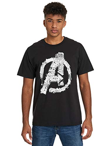 Avengers Logo Männer T-Shirt schwarz XXL 100% Baumwolle Fan-Merch, Film, Marvel Comics, Superhelden