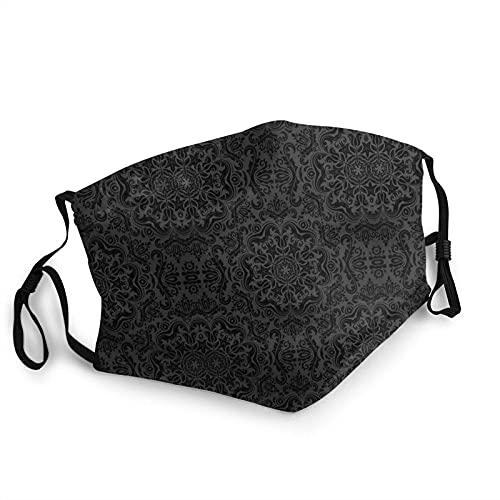 Patrón de damasco victoriano Royal Black Gótico Oscuro Transpirable Cara Cuello Polaina Cara Bufanda Mask-Dust, Impermeable Transpirable Pesca Senderismo Correr Ciclismo