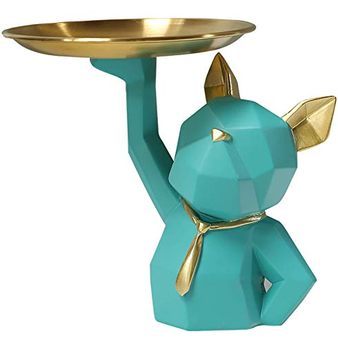 HUHAA Esculturas de Bandeja de Almacenamiento de Bulldog, Bonita decoración de Almacenamiento de Bulldog de Resina, Bandeja de Almacenamiento de Objetos pequeños