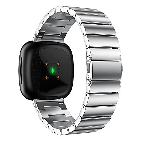 Compatible con correas Fitbit Versa3/Sense, correa de reloj de acero inoxidable, correa de pulsera ajustable, reemplazo de banda de negocios,