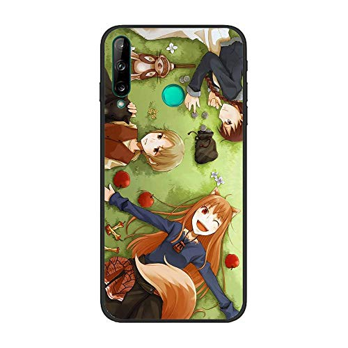 Easterm Soft Black TPU Rubber Liquid Shell Case Coque for Huawei P40 Lite E-Spice-Wolf Girl Wisewolf-Holo 5