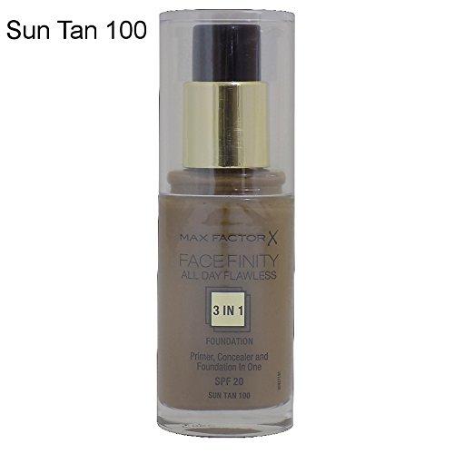 2 x Max Factor Face Finity Flawless 3 in 1 Foundation 30ml - 100 Sun Tan