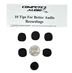"""6 small round foam windscreens for wireless lapel mics Also good for smaller lavalier and telephone headsets, computer gamers, Telex B-787 Height, width: 1.8 cm, 3/4 in. Depth: 1.5 cm, 1/2 in, Opening: 0.6 cm, 1/4 in. Includes """"10 tips for better aud..."""
