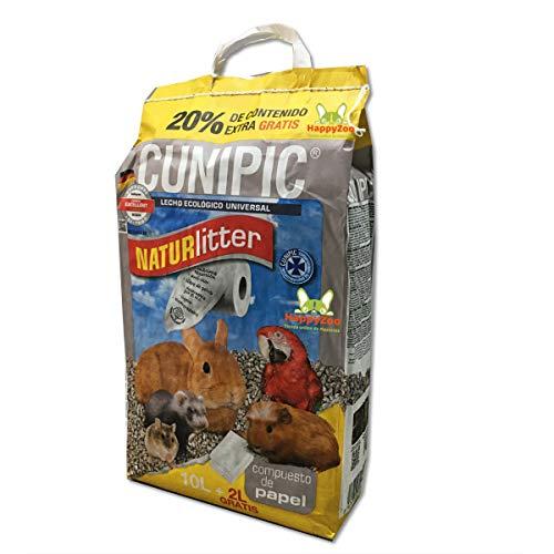 CUNIPIC Naturlitter - Lecho Ecológico de Papel, 10 litros (+ 2L Gratis) Oferta - Lecho para Conejos Cobayas Chinchillas Roedores- Papel Absorbente