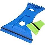 Cartrend 96189 Eisschaber Eiskratzer Duo mit Messingklinge, in ergonomischen Design mit integriertem Spiegel-Reiniger
