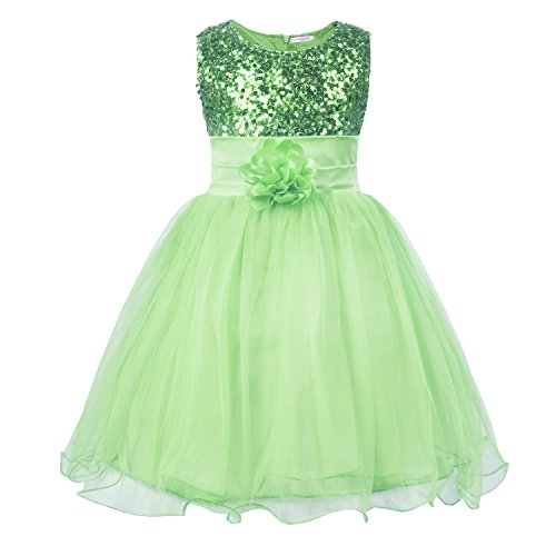 JerrisApparel Little Girls' Sequin Mesh Flower Ball Gown Party Dress Tulle Prom (8, Light Green)
