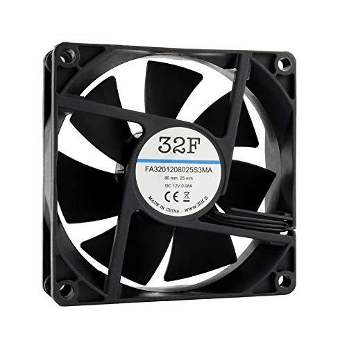 32F Ventilador 80 mm 80 x 80 x 25 2500 rpm 12 V 0,08 A DC Air Fan 8 cm 80 mm 3 hilos 3 pines con sensor tacómetro Refrigeración 80 x 80 x 25