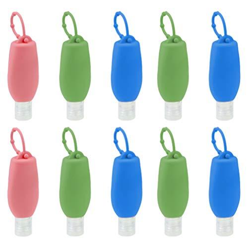 Cabilock 10 Stücke Kinder Silikon Reiseflaschen Schlüsselanhänger mit Hülle 60ml Flip Cap Flasche Weihnachten Mitgebsel Leere Seifenspender Nachfüllbare Duschgel Reisebehälter für Shampoo Handgel