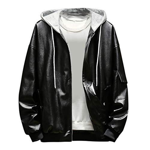 Kaiki Männer Leder Jacket Outwear Winter Warm Oversize Bikerjacke Sportjacke Sweatjacke Slim Fit Kunstlederjacke mit Stehkragen und Reißverschluss (2XL, Schwarz)